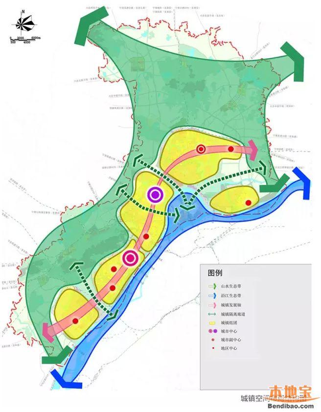 江北新区城镇空间布局/2030城镇体系结构图