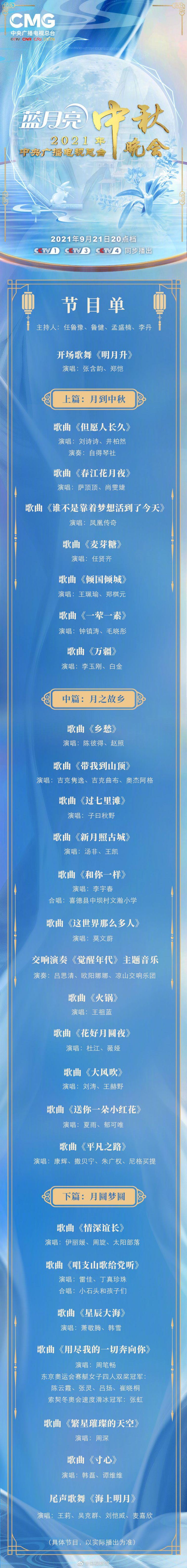 2021央视中秋晚会嘉宾阵容+节目单