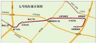 北京地铁7号线今年开工东延 终点站在环球影城
