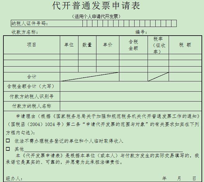 北京代开普通发票申请表下载及样本
