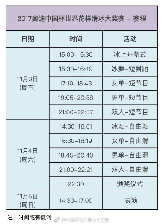 2017奥迪中国杯世界花样滑冰大奖赛时间地点门票购买入口及赛程表