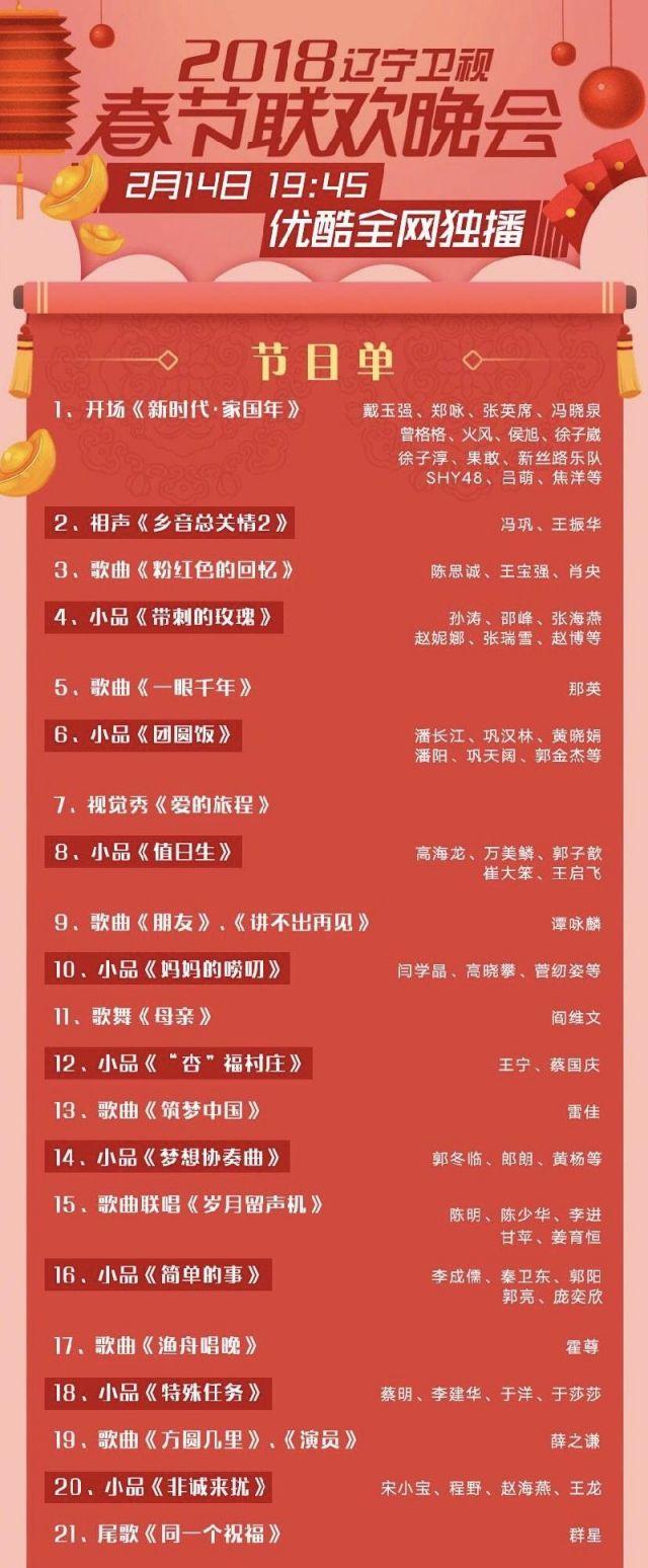2018遼寧衛視春晚時間節目單明星嘉賓陣容指南- 北京圖片