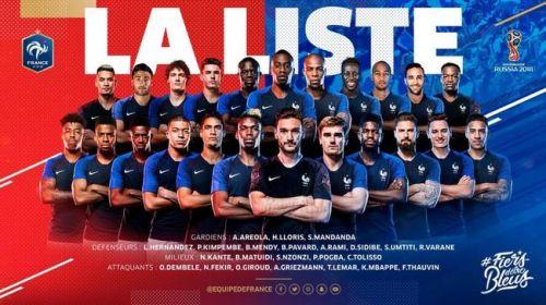 2018世界杯法国国家足球队23人大名单