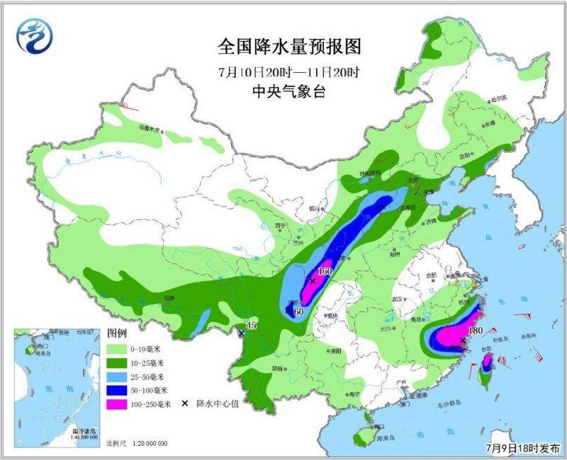 2018年7月10日未来三天全国天气预报:北京河北河南山东江苏安徽四川等地出现大到暴雨