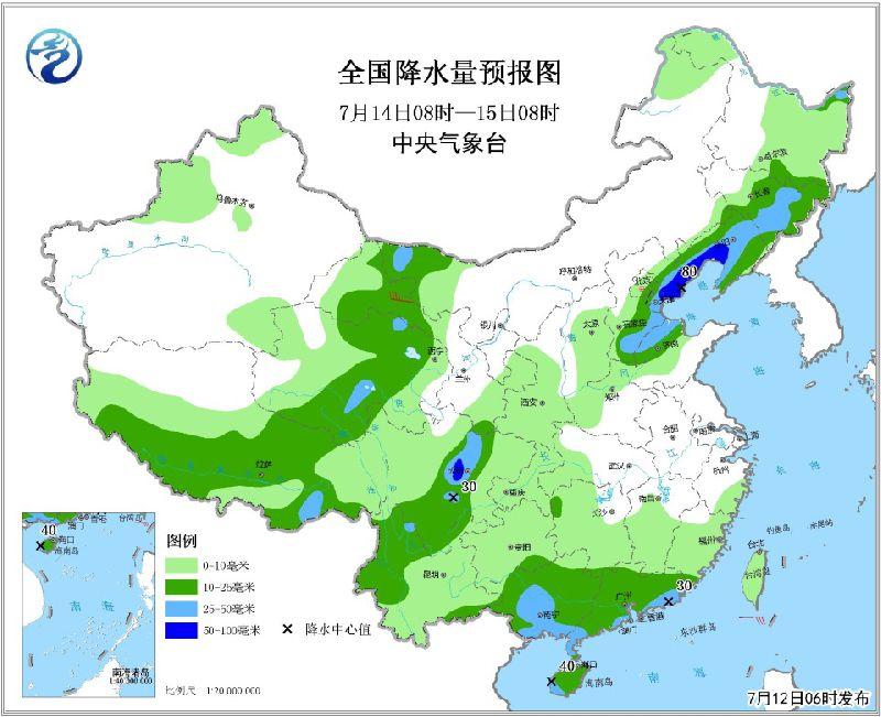 """2018年7月12日未来三天全国天气预报:""""玛莉亚""""残余环流将影响湘赣鄂等地  华北东北等地有较强降雨"""