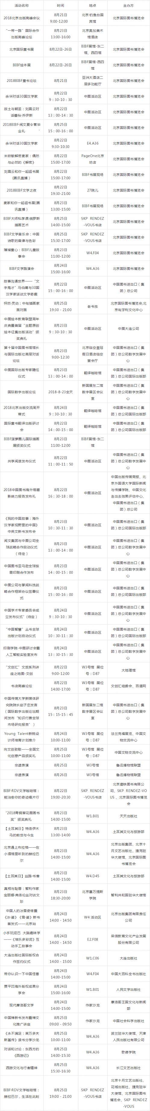 2018北京国际图书博览会重要活动汇总(时间+展位)