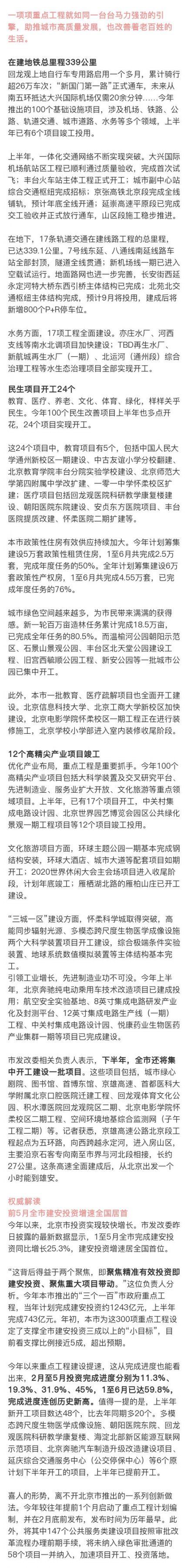 2019北京重点工程半年成绩单公布 新开工项目48个创新高