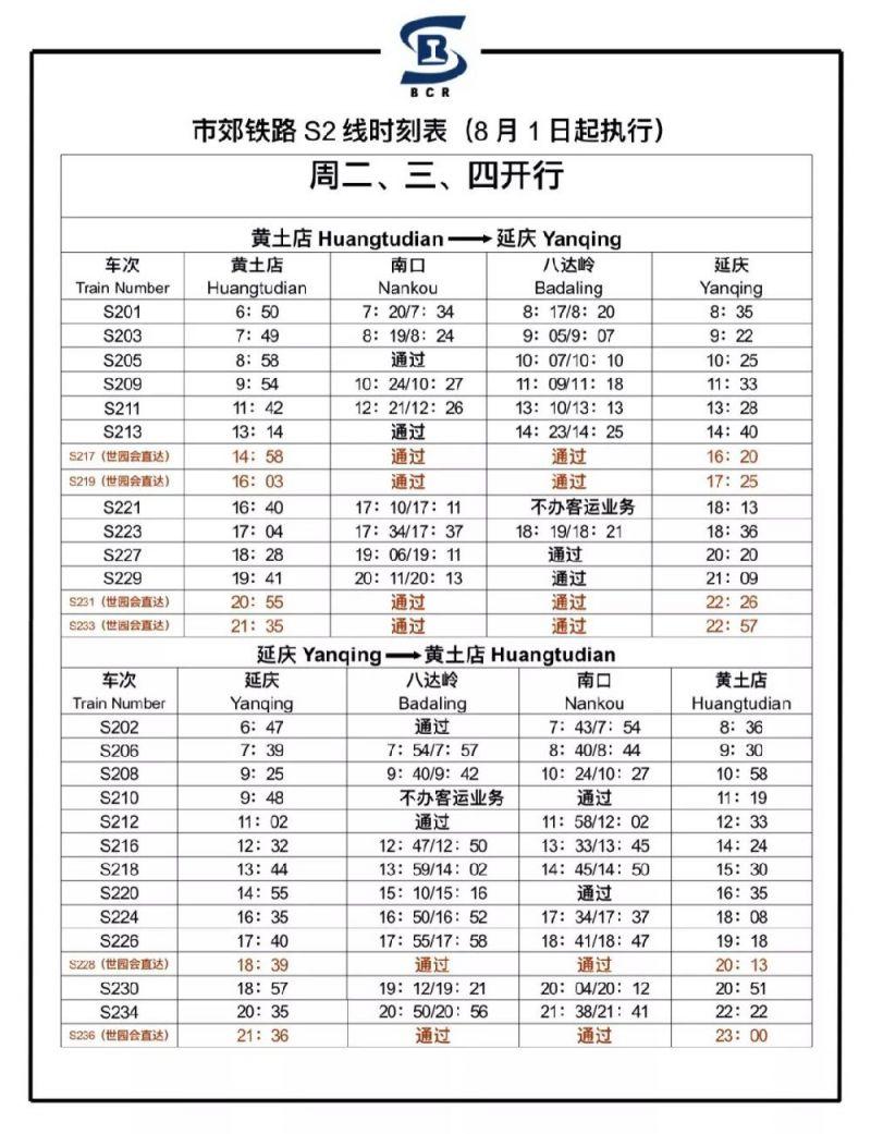 2019年8月1日起S2线最新版列车时刻表
