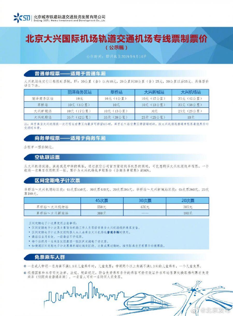 北京大兴机场线商务单程票价多少钱