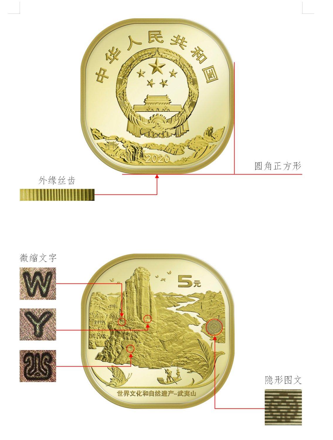 2020武夷山纪念币防伪特征(真假鉴别方法)