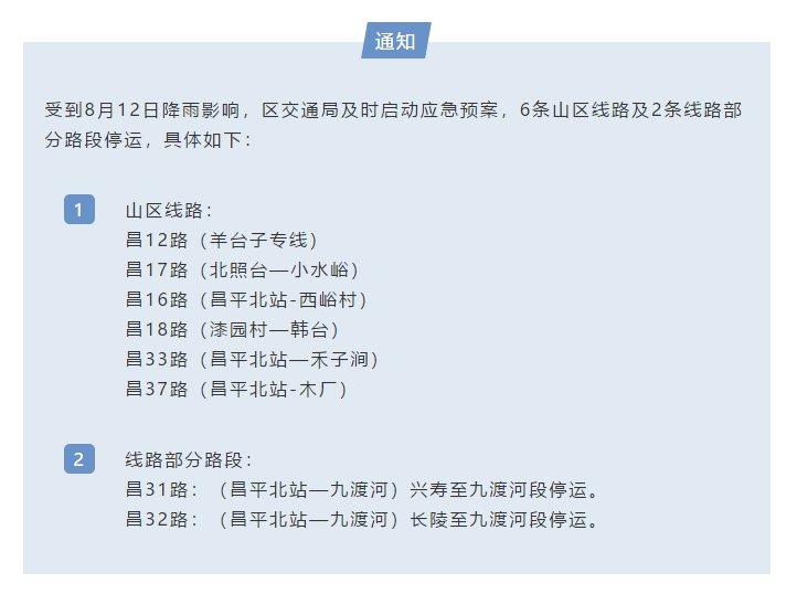 8月12日北京昌平区公交线路将采取临时停驶措施(附具体停驶线路)