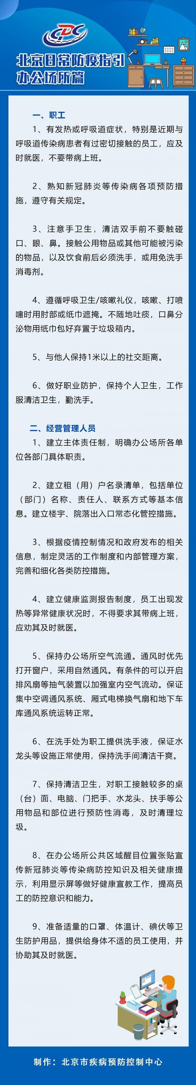 北京日常防疫指引——办公场所篇