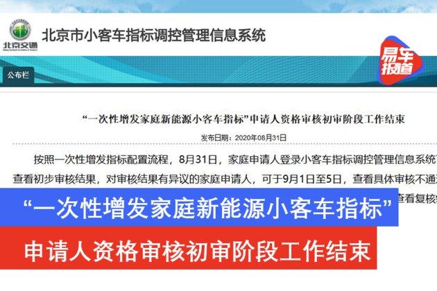 北京一次性增发家庭新能源小客车指标资格初审结束公告