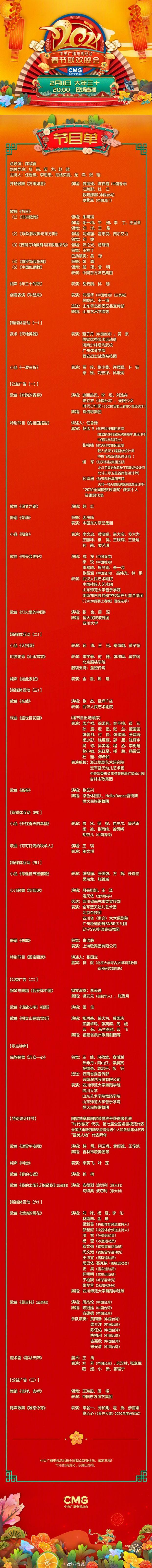 2021央視春晚節目單及演員名單一覽