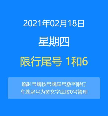2021年2月18日北京限行吗