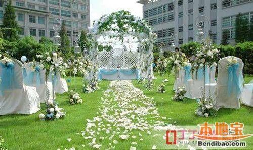 巧用白绿色系布置婚礼现场