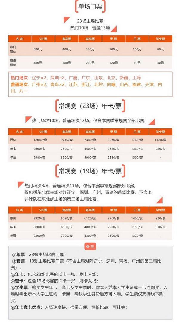 2018-2019赛季吉林东北虎主场门票购买指南