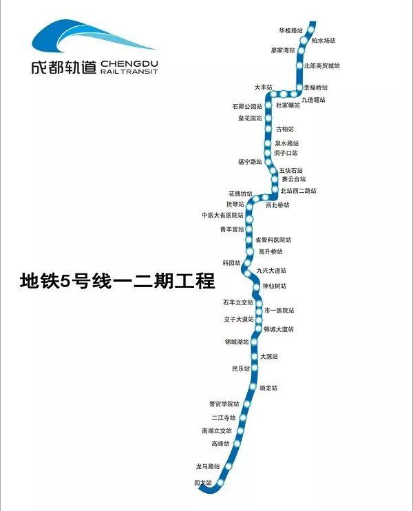 9月成都地铁5号线一二期进度 37座车站完成主体结构封顶
