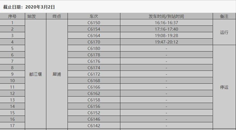 都江堰市恢复的客运班车和高铁动车发车时间表一览