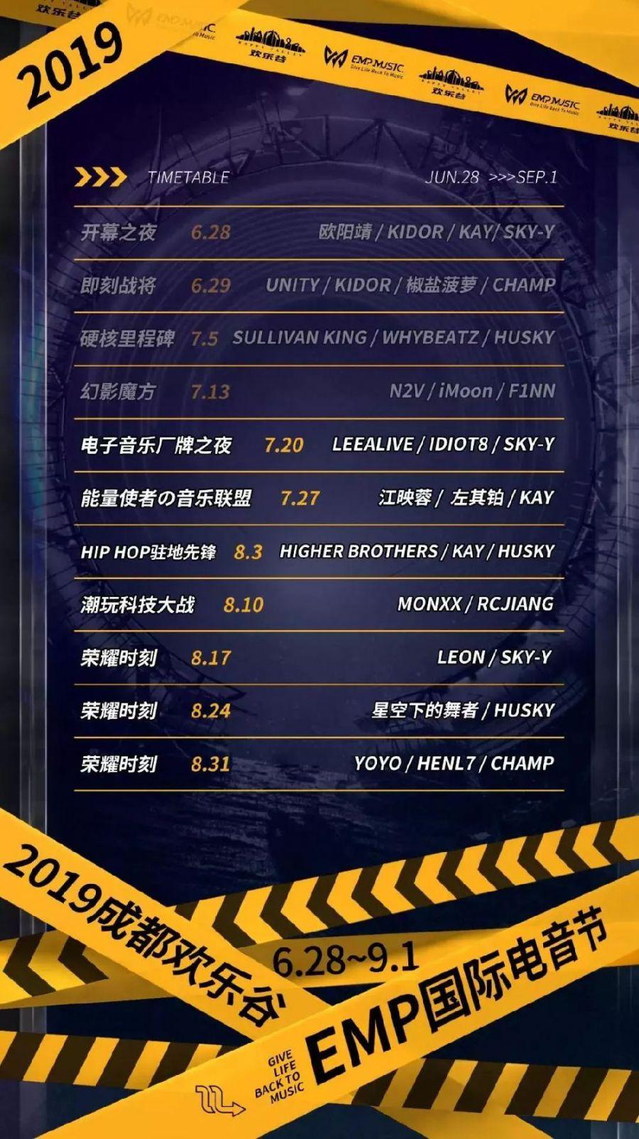 2019成都欢乐谷EMP国际电音节第二批嘉宾阵容 演出时间