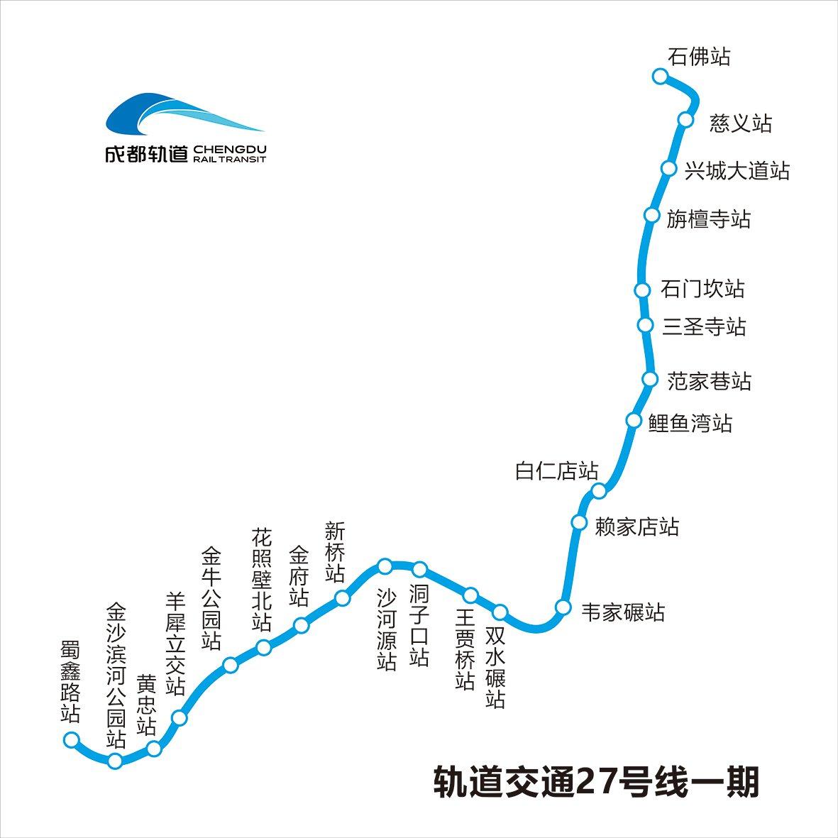成都地鐵27號線一期站點圖