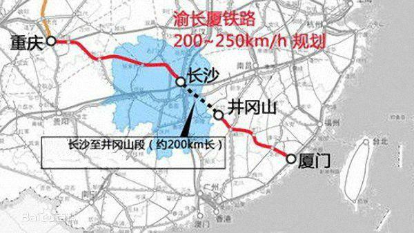 渝厦高铁线路图