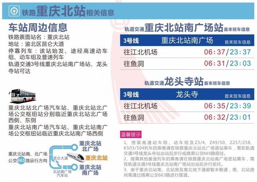 重庆火车站、北站春运出行地图(乘车指南+轻轨指南)