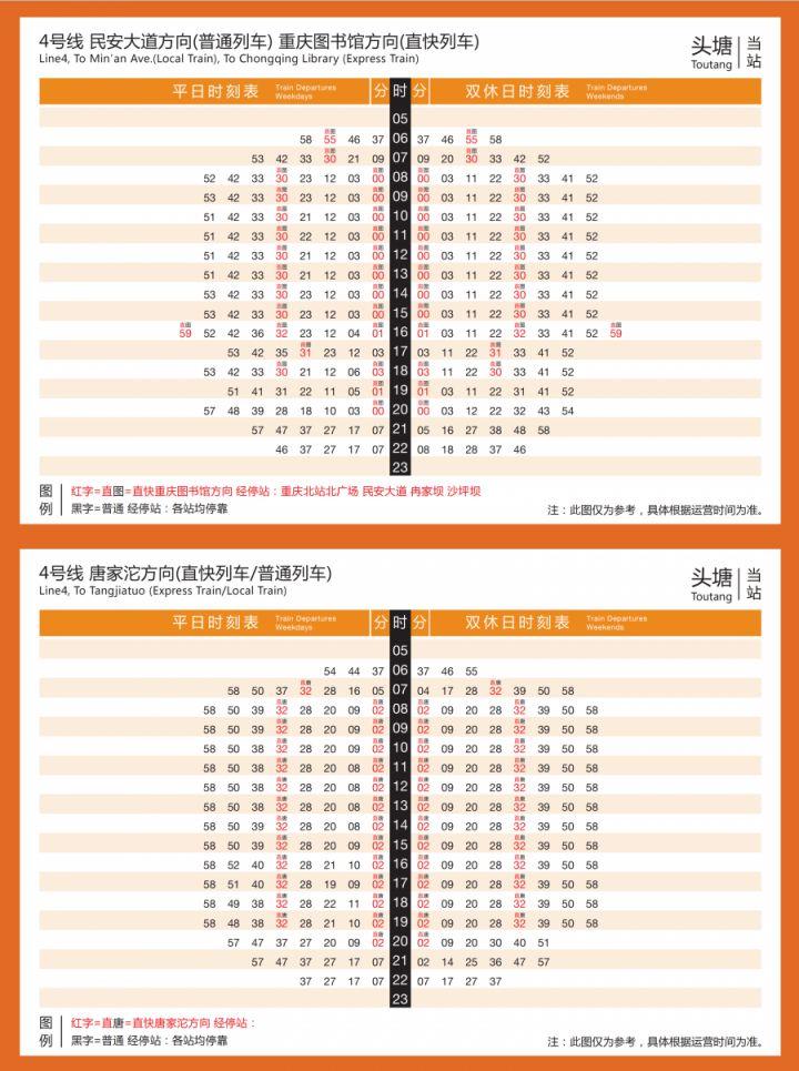 重庆直快列车时刻表(超全)