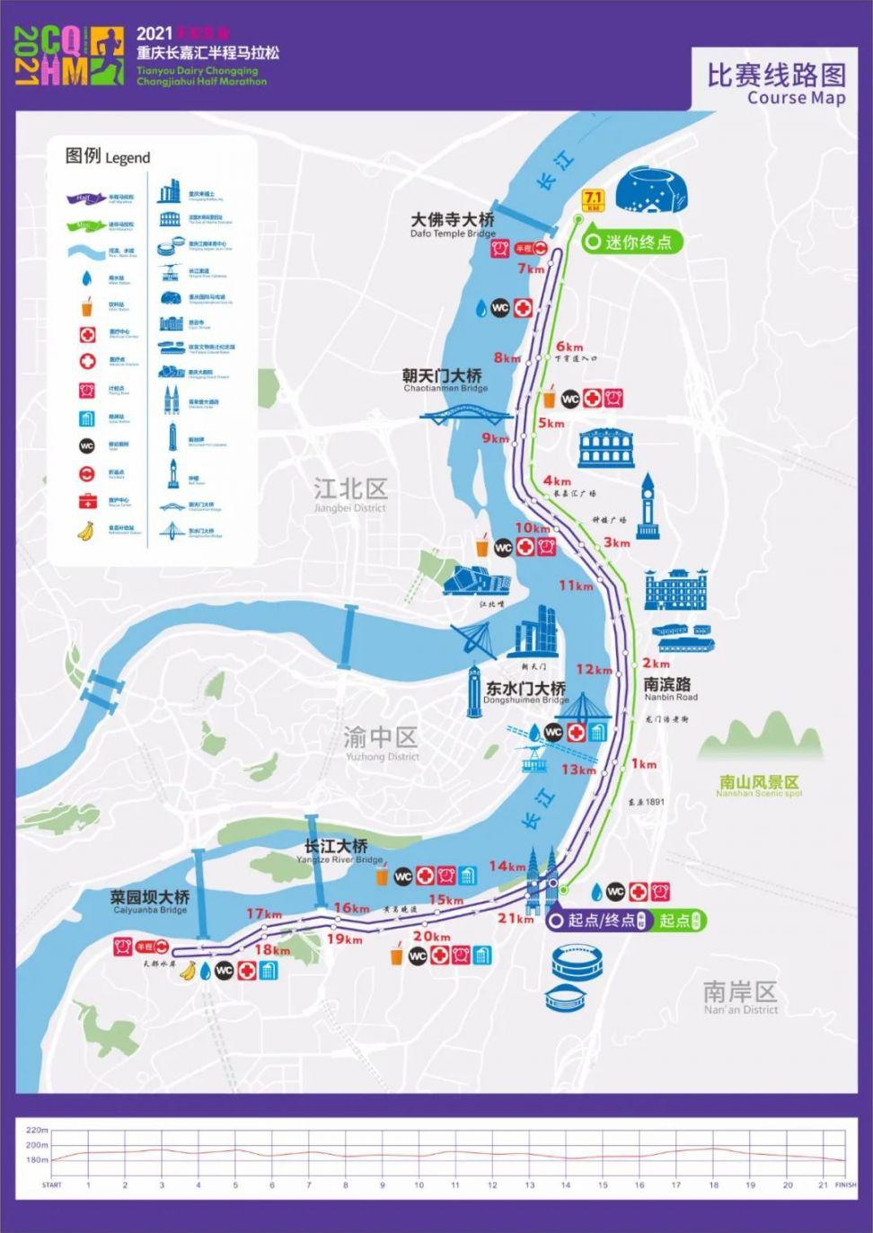 2021重慶長嘉匯半程馬拉松路線圖