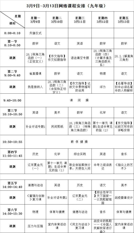 长沙小学初中最新网络课程表(初一 初二 初三)