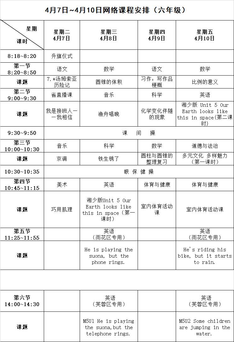 长沙停课不停学课表(4月7日至4月10日)