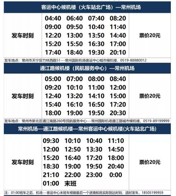 常州机场大巴市区专线时刻表(最新)
