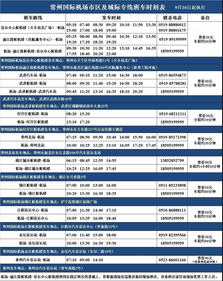 2020年常州中秋国庆机场航班表+查询入口