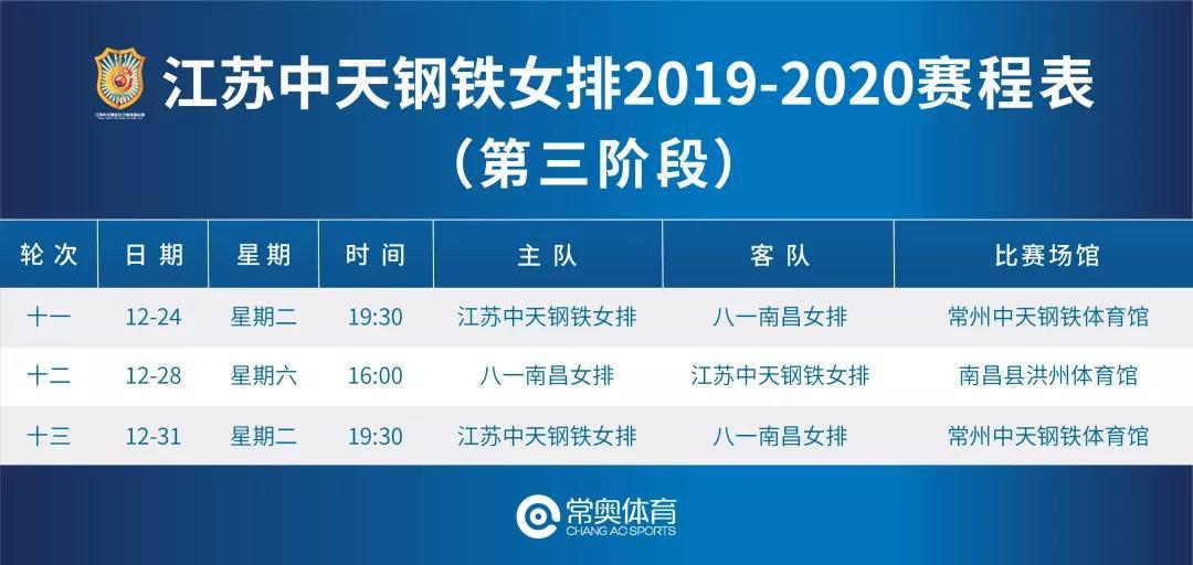 2019-2020中国女排超级联赛赛程日程表(持续更新)