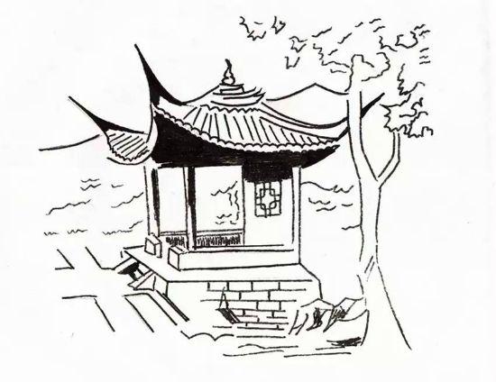 凉亭景观手绘 线稿