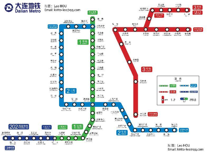 (大连地铁线路图:1、2号线与快轨3号线)-大连地铁1号线为什么没图片