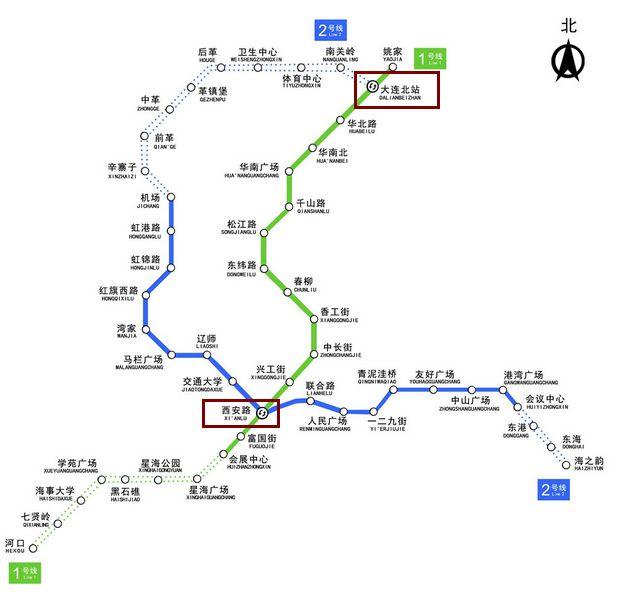 大连地铁1号线一期的重要站点有哪些图片