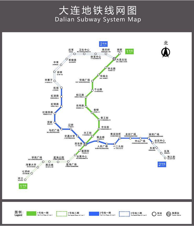 大连地铁2号线线路图图片