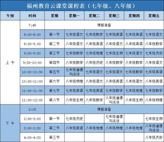 福州教育云课堂课程表(第四周)
