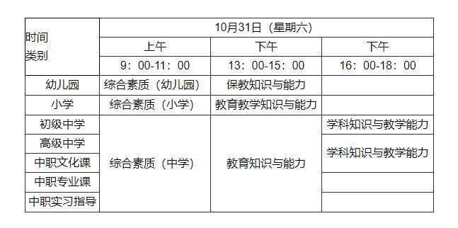 福建省2020年下半年中小学教师资格考试(笔试)公告