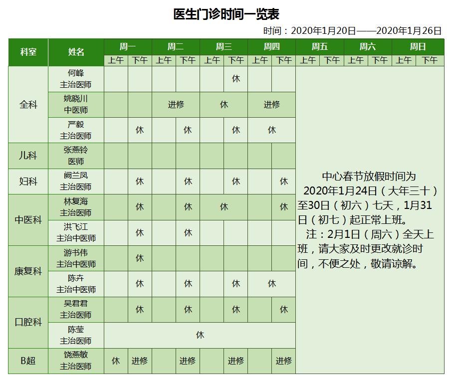 2020福州春节各大医院门诊放假时间安排