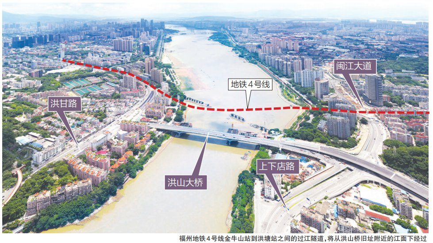 福州地铁4号线正式启动金牛山站至洪塘站再度下穿闽江工程插图