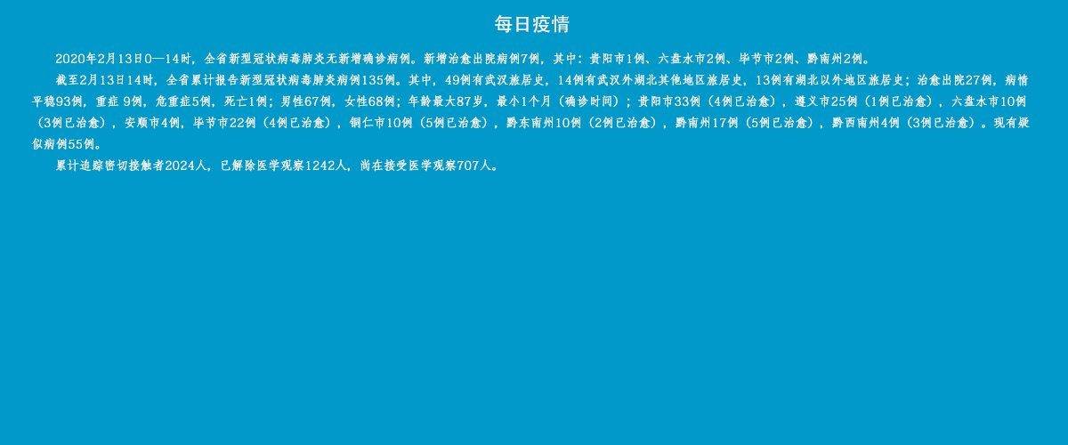 2020年2月13日贵州新型肺炎最新东塔(确诊人数+活动轨迹)