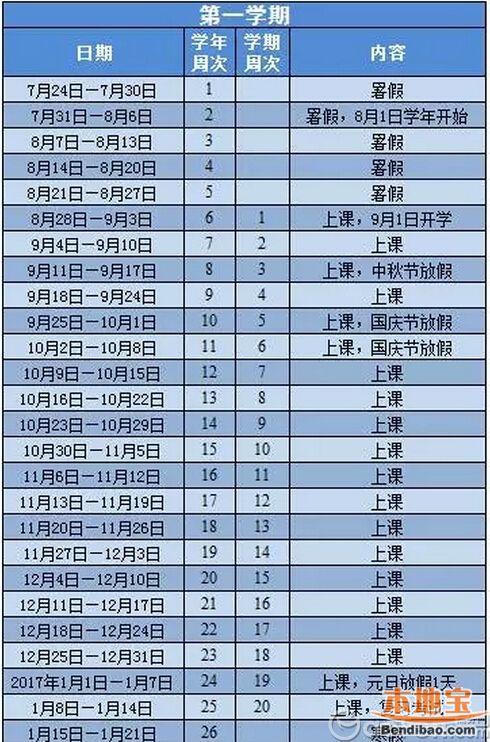 2016-2017学年广州市全日制义务教育学校校历