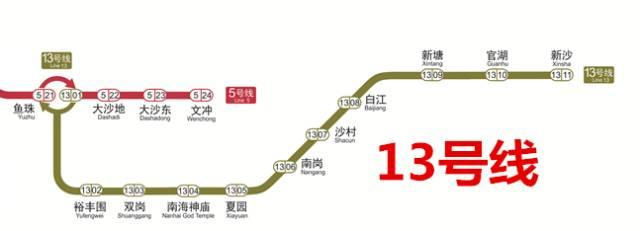 广州地铁13号线线路图