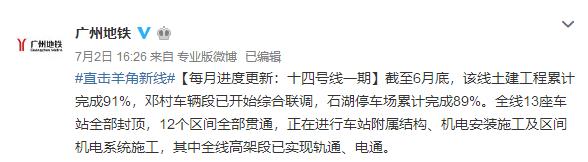 2018年6月广州地铁14号线一期进展:石湖停车场完成86%