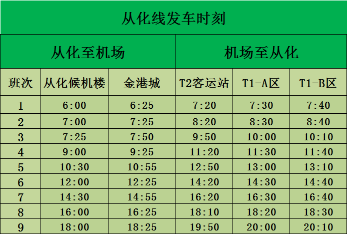 2018广州白云机场到从化大巴时刻表一览