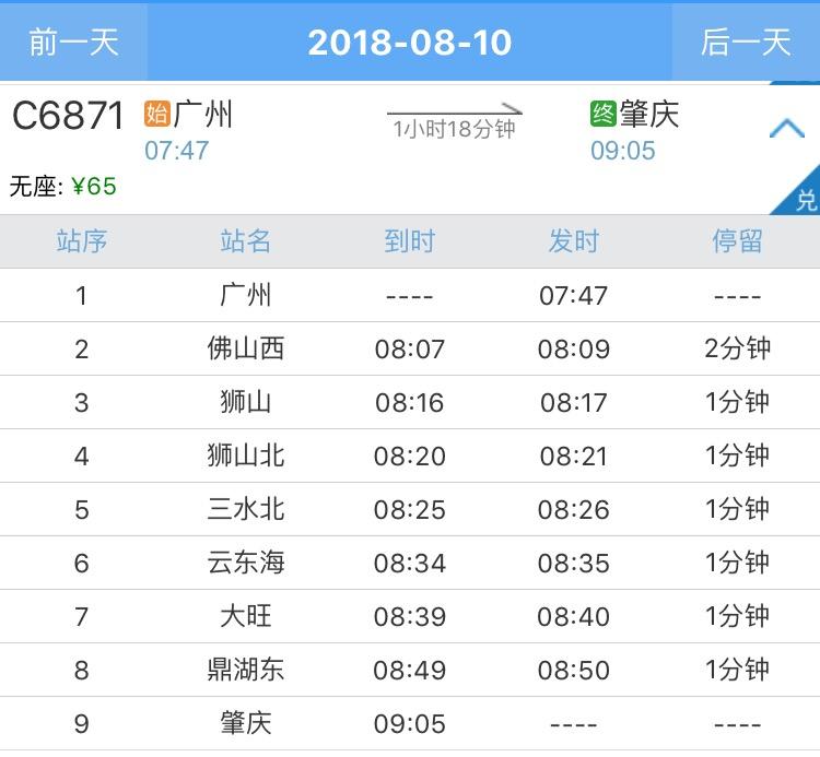 广州到肇庆轻轨要多久?