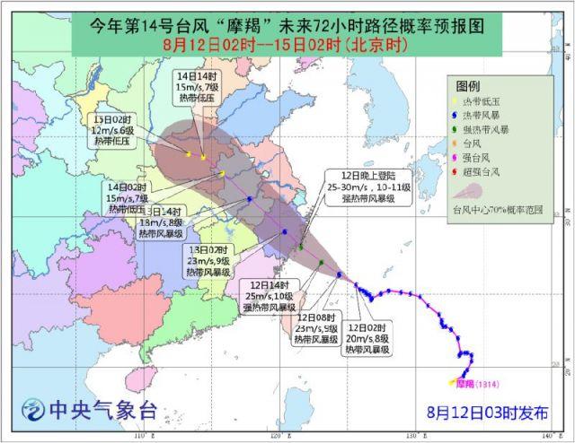 12日第14号台风 摩羯 路径图
