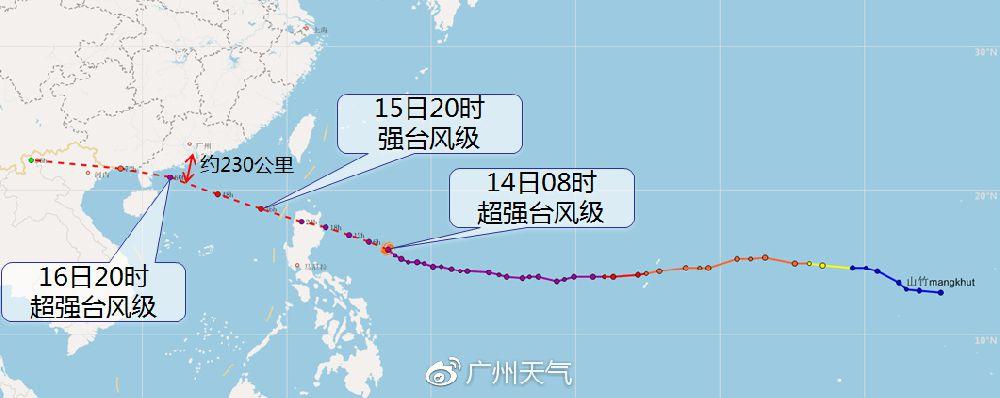 """台风 """"山竹""""路径预报"""